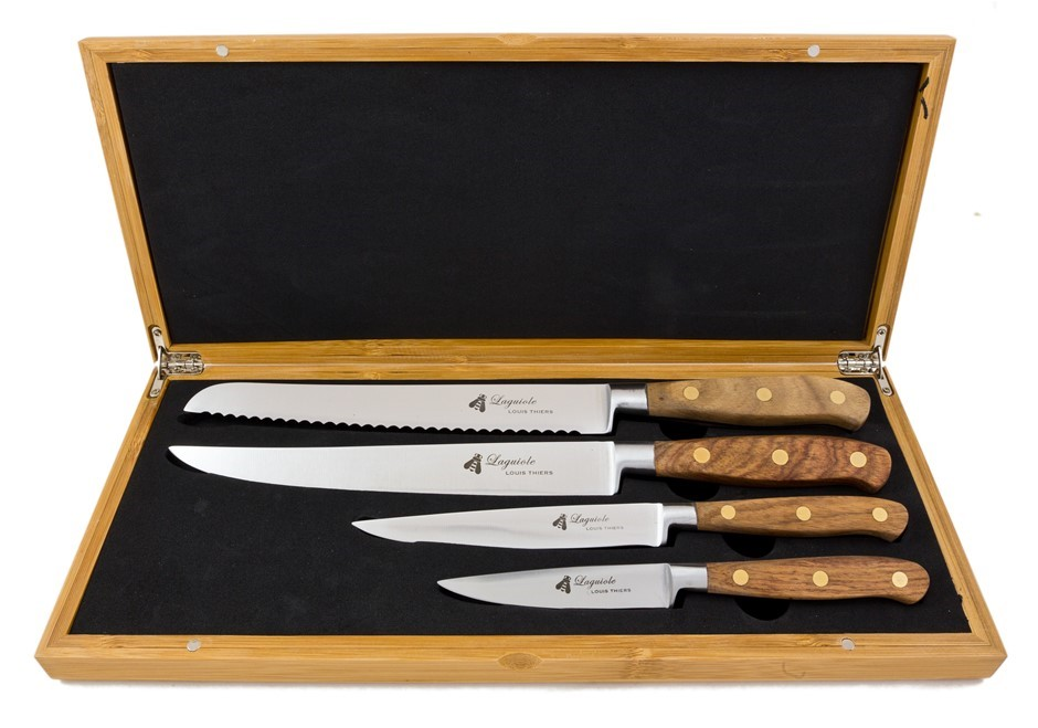 Laguiole by Louis Thiers Sequoia 4-piece Kitchen Knife Set in Box