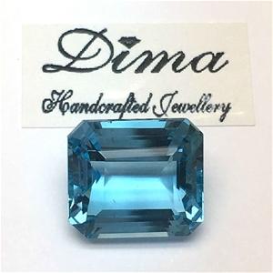 One Stone Blue Topaz Emerald Cut 11.98ct