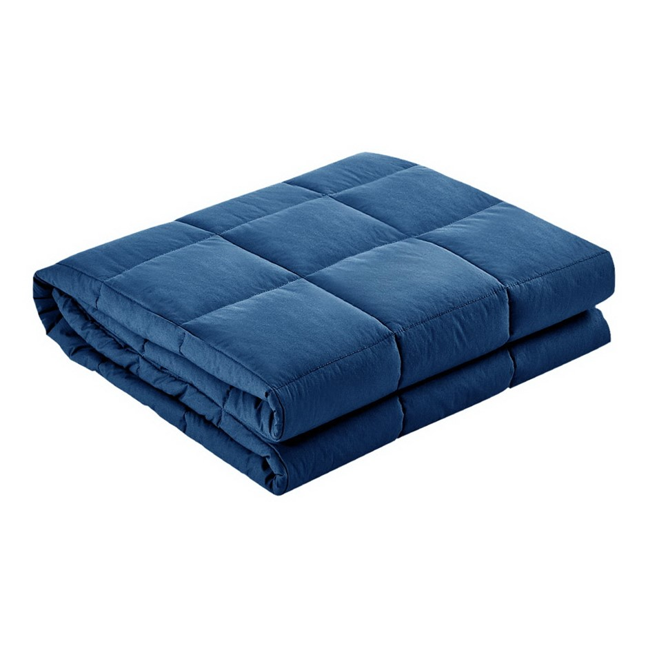 Giselle Bedding 2.3kg Cotton Weighted Blanket Deep Relax Gravity Kids Navy