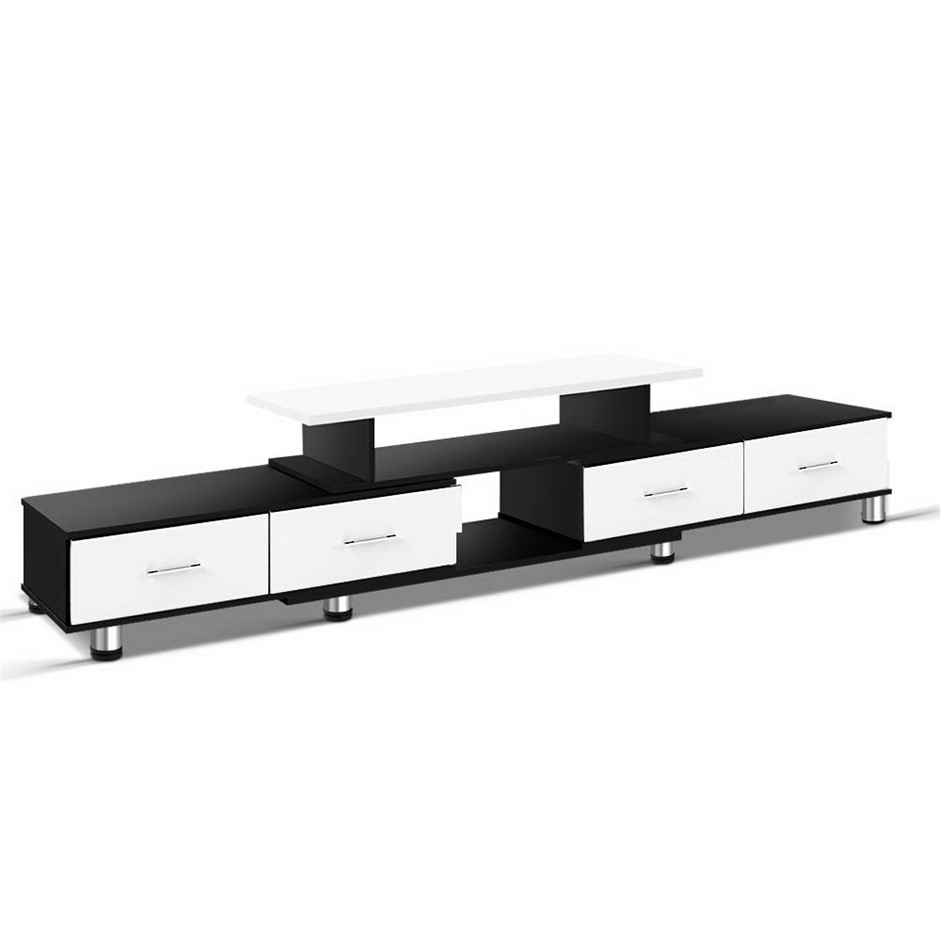 Artiss Wooden TV Stand 160CM to 220CM Lowline Storage Drawers Black White