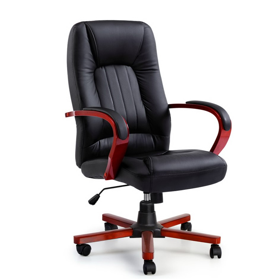 Artiss Executive Wooden Chair Wood Computer Chairs Leather Seat Semper