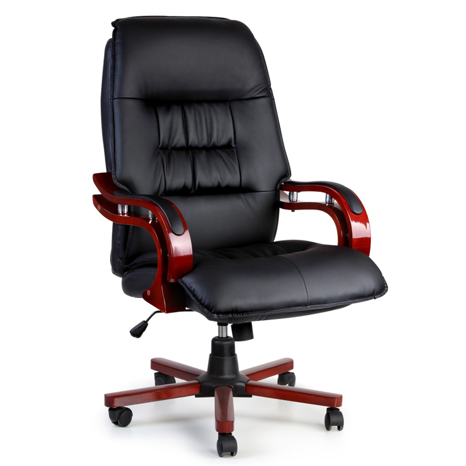 Artiss Executive Wooden Chair Wood Computer Chairs Leather Seat Sierra