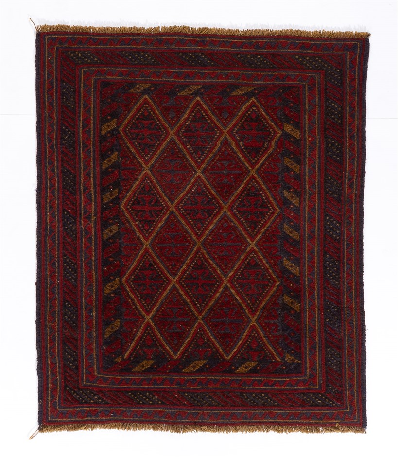 Afghan Meshwani Mixed Weave Wool Pile Rug Size (cm): 105 x 114