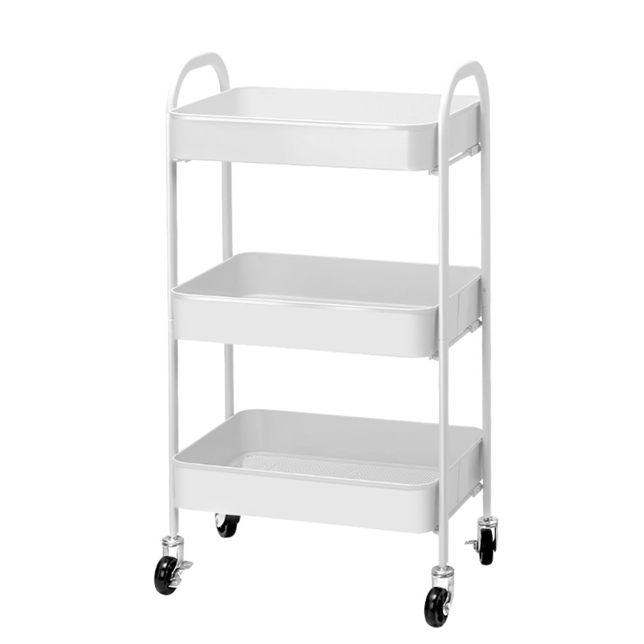 Artiss 3 Tier Kitchen Storage Cart Portable Rolling Rack Office Utility