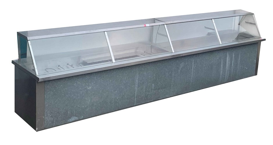 UNFINISHED HOT & COLD DISPLAY COUNTER UNIT WITH 3 SOLD DOOR UNDER COL
