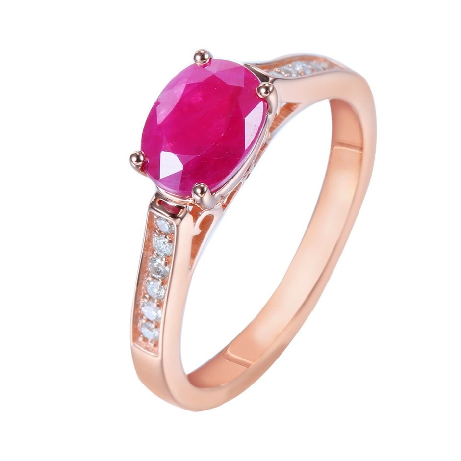 9ct Rose Gold, 1.62ct Ruby and Diamond Ring