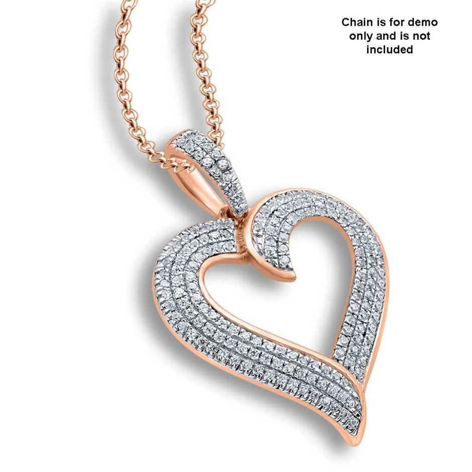9ct Rose Gold, 0.25ct Diamond Pendant