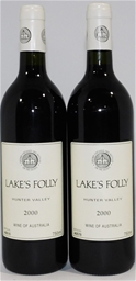 Lake's Folly Cab Sav/Petit Verdot 2000 (2x 750ml), . Cork closure.