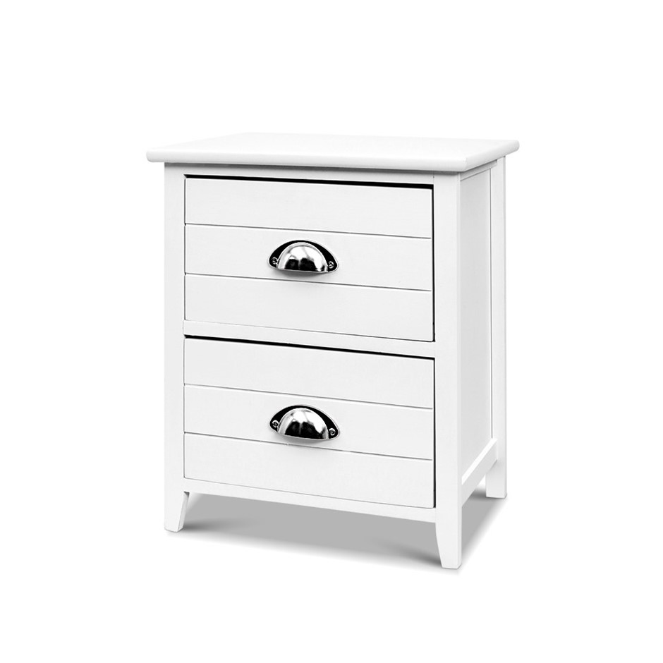 Bedside Tables Drawers Side Table Cabinet Nightstand White Vintage Unitx2