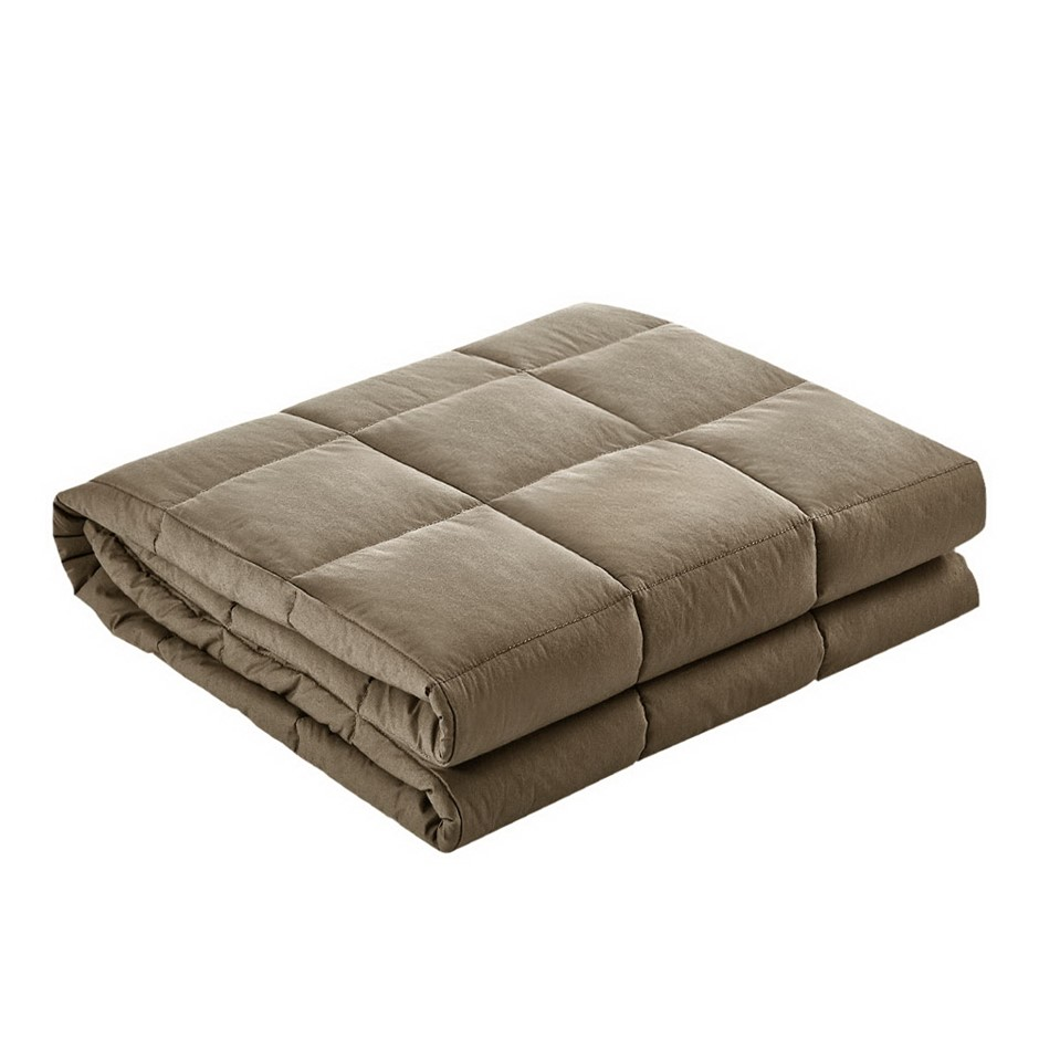 Giselle Bedding 2.3KG Cotton Weighted Blanket Heavy Gravity Kids Size Brown