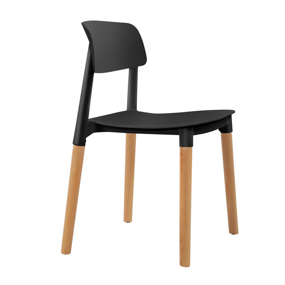 Artiss 4x Belloch Replica Dining Chairs Cafe Stackle Beech Wood Legs Black