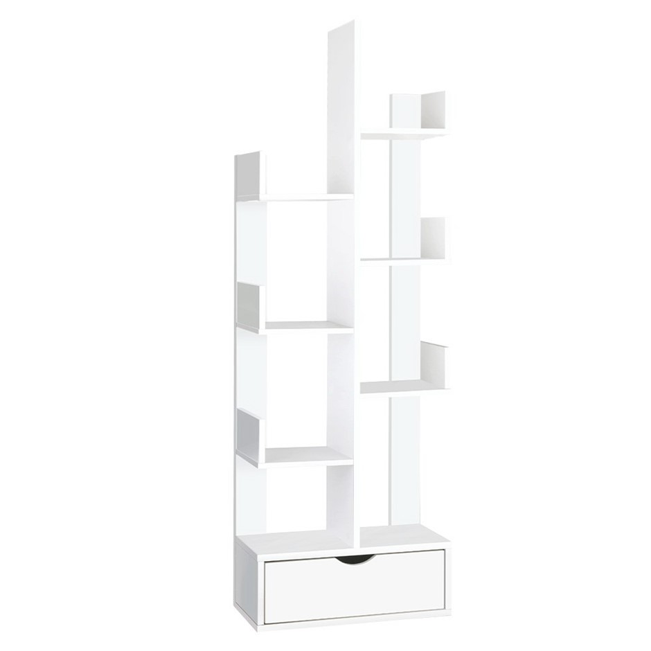 Artiss Wooden Tree Storage Display Shelf Bookcase Shelving Drawer White