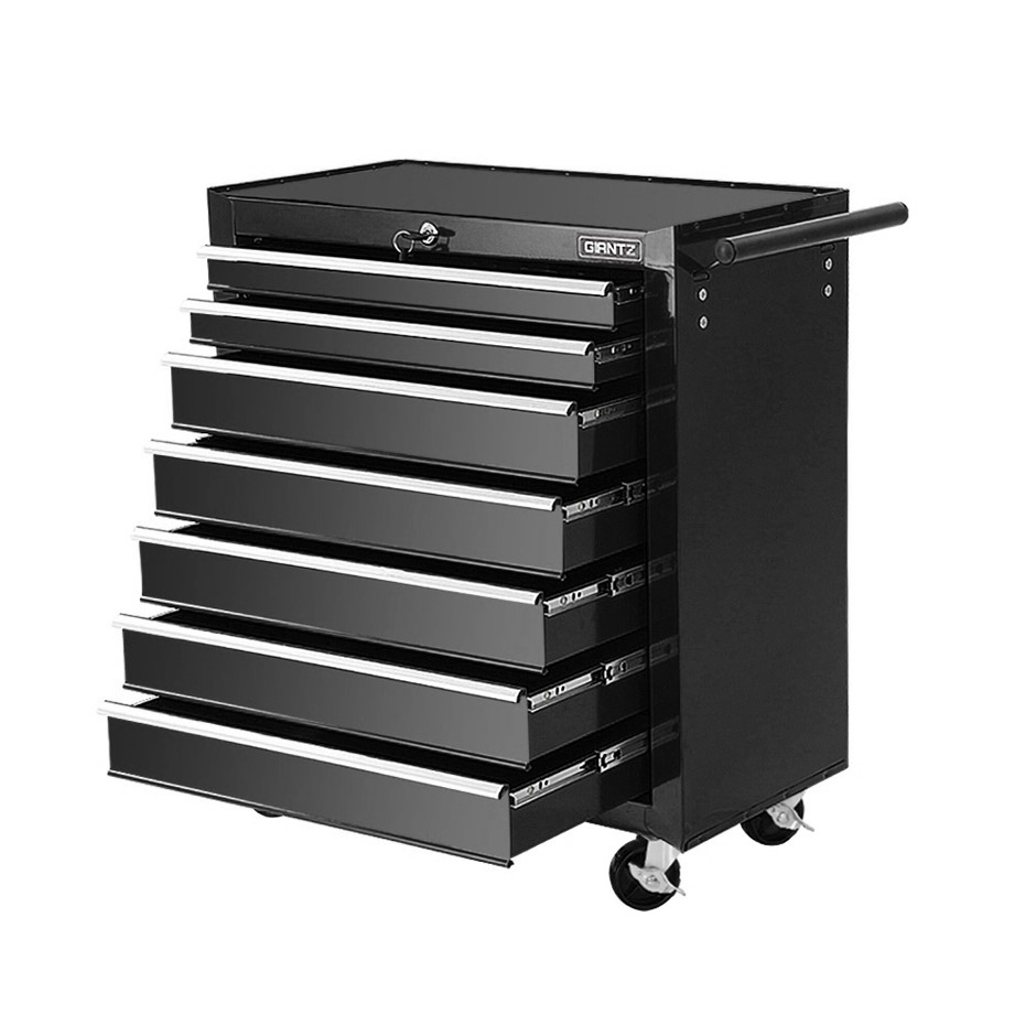 Giantz Tool Chest and Trolley Box Cabinet 7 Drawers Cart Storage Black