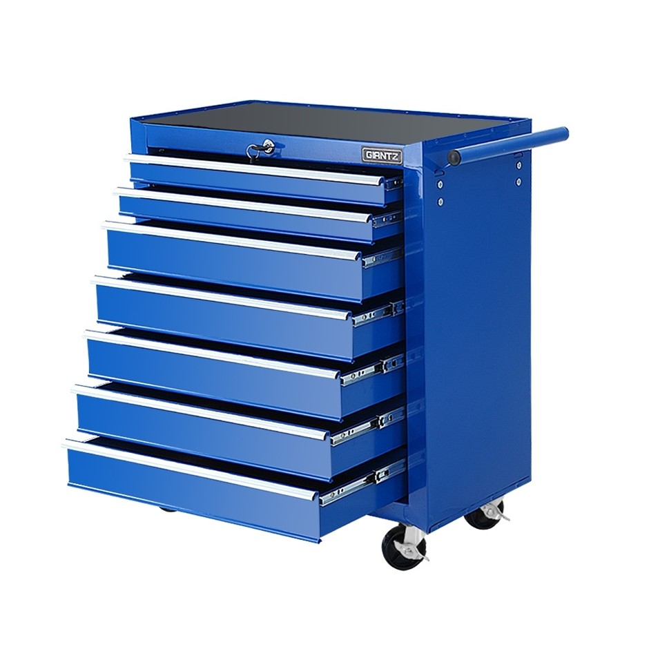 Giantz Tool Chest and Trolley Box Cabinet 7 Drawers Cart Storage Blue