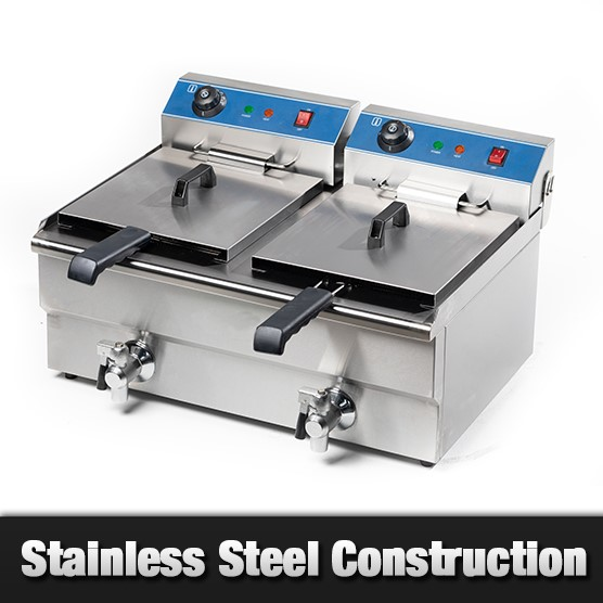Unused Double Tank 10L Deep Fryer with Taps - EF-132V
