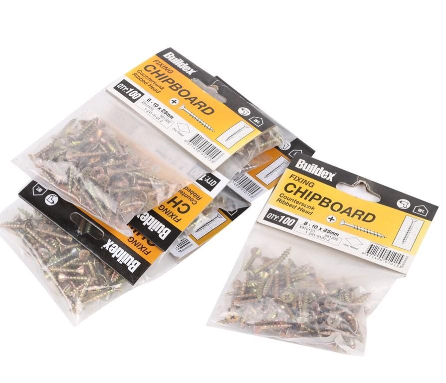 20 Packs of 100 x Countersunk Chipboard Screws 8-10 x 25mm. Buyers Note - D