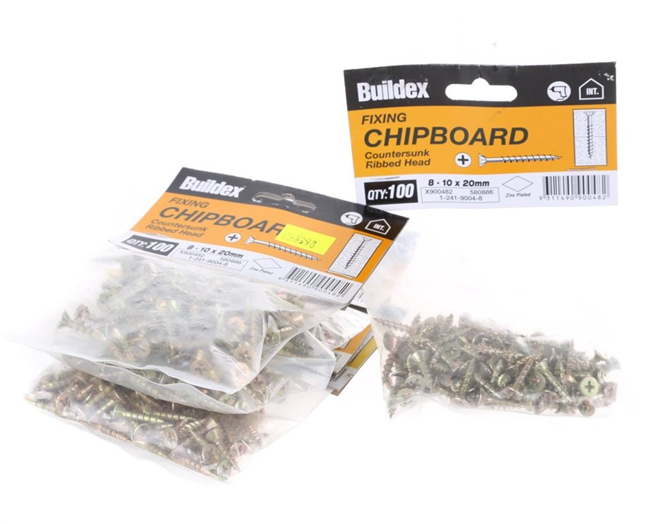 20 Packs of 100 x Countersunk Chipboard Screws 8-10 x 20mm. Buyers Note - D