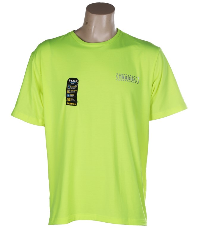 TRADIE FLEX Hi-Vis T-Shirt, Size L, Short Sleeve, Fluro Yellow. Buyers Note