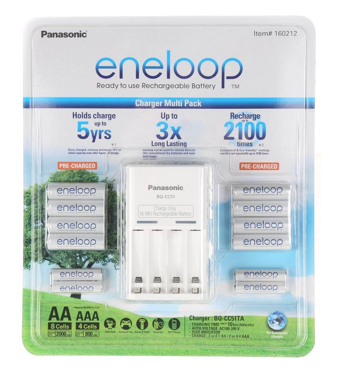 PANASONIC Eneloop Rechargeable Battery Kit c/w Charger. (264551-296)
