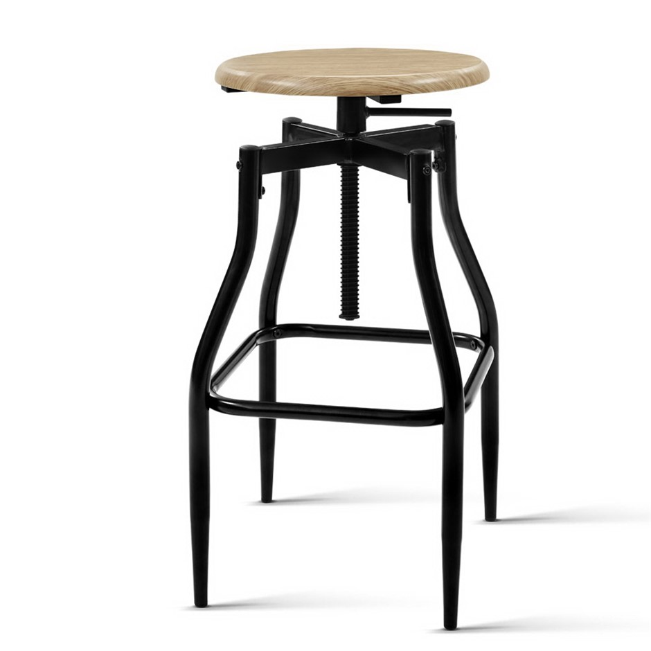Artiss 2 x Vintage Kitchen Wooden Bar Stools Swivel Industrial Retro