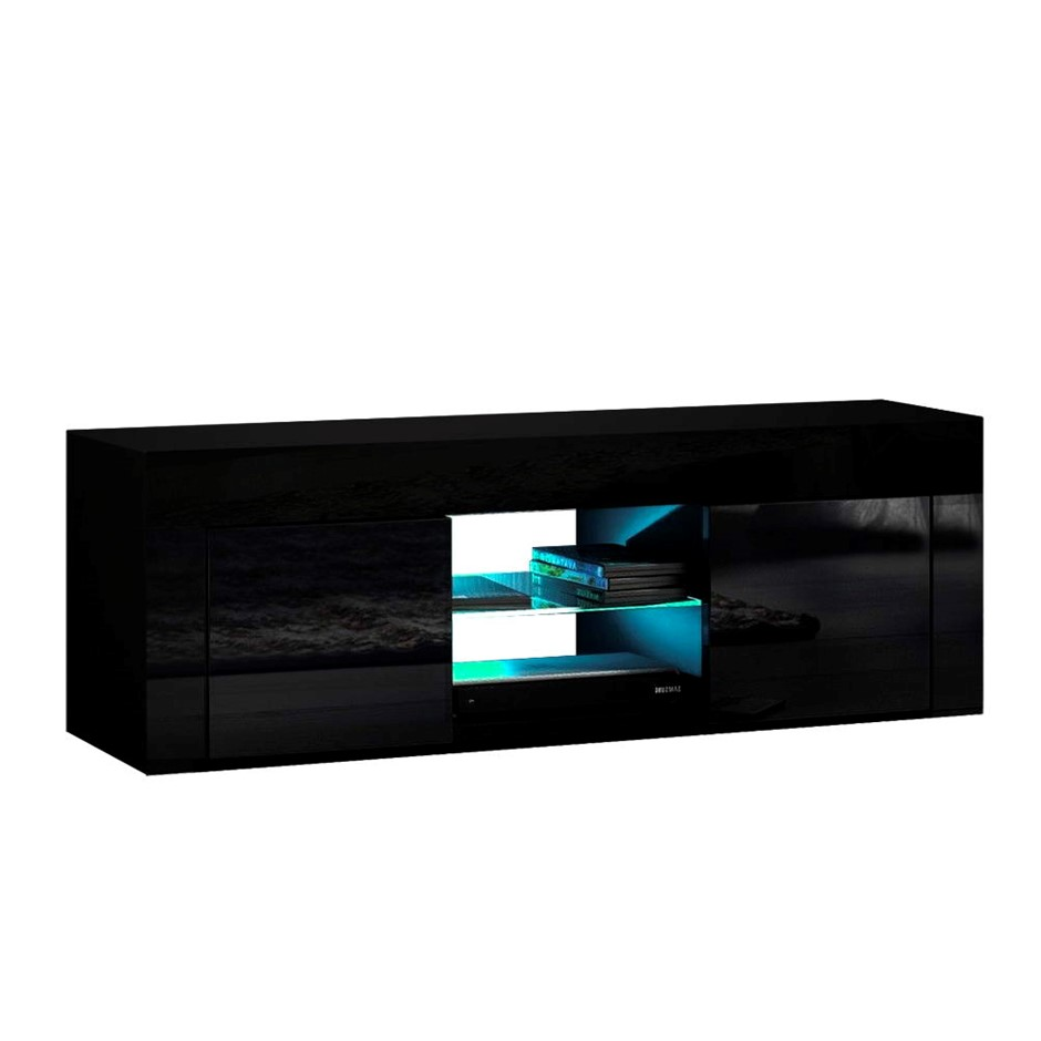 Artiss 130cm RGB LED TV Stand Cabinet Entertainment Unit Gloss Black