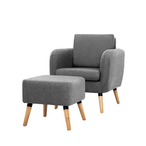 Artiss Lounge Chair Armchair with Ottoma