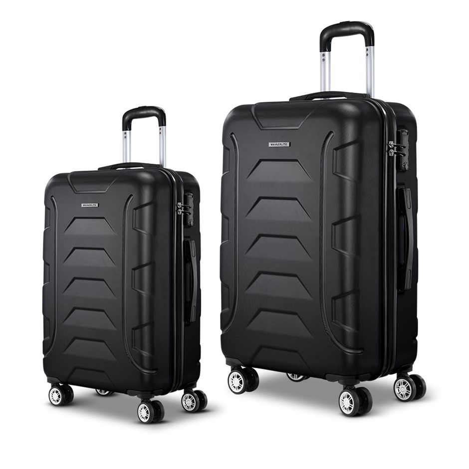 Wanderlite 2PCS Carry On Luggage Sets Suitcase TSA Travel Hard Case Black