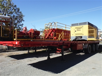 1975 Haulmark Triaxle Flat Top Trailer with Atlas Copco Compressor
