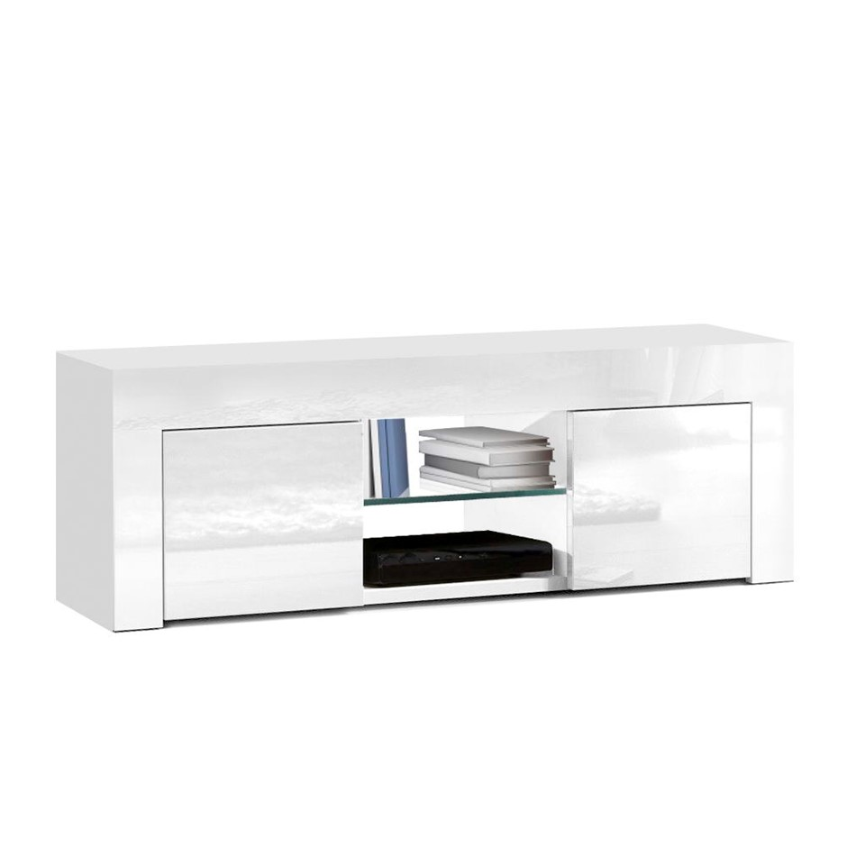 Artiss 130cm High Gloss TV Stand Unit Cabinet Tempered Glass Shelf White