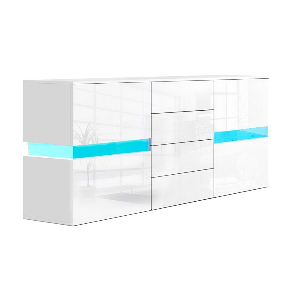 Artiss Buffet Sideboard Cabinet High Gloss RGB LED Storage Doors Drawer
