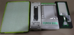 Box of 3 x Power banks and iPad Case