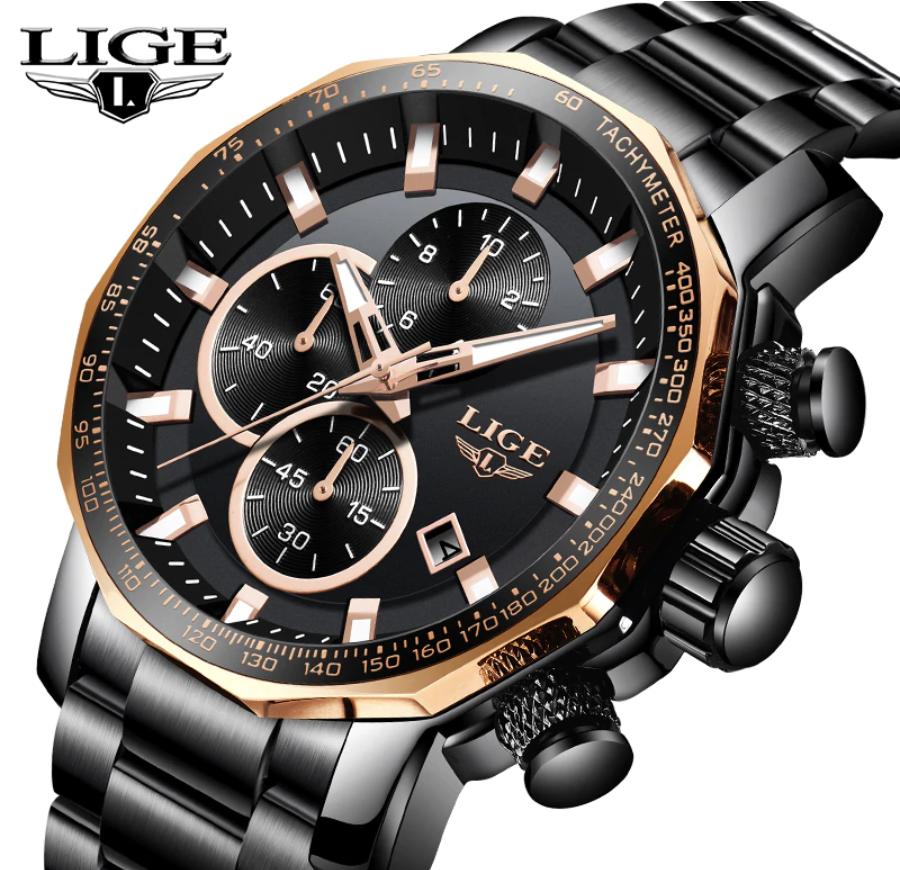 LIGE Men Business & Luxury Quartz Chronograph Water-Resist SS Wrist Watch