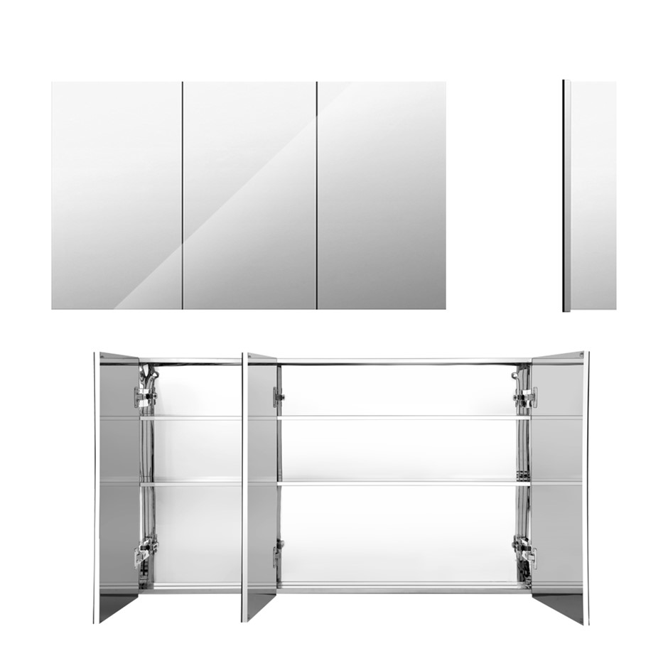 Cefito Stainless Steel Bathroom Mirror Cabinet Storage 900x720mm Silver