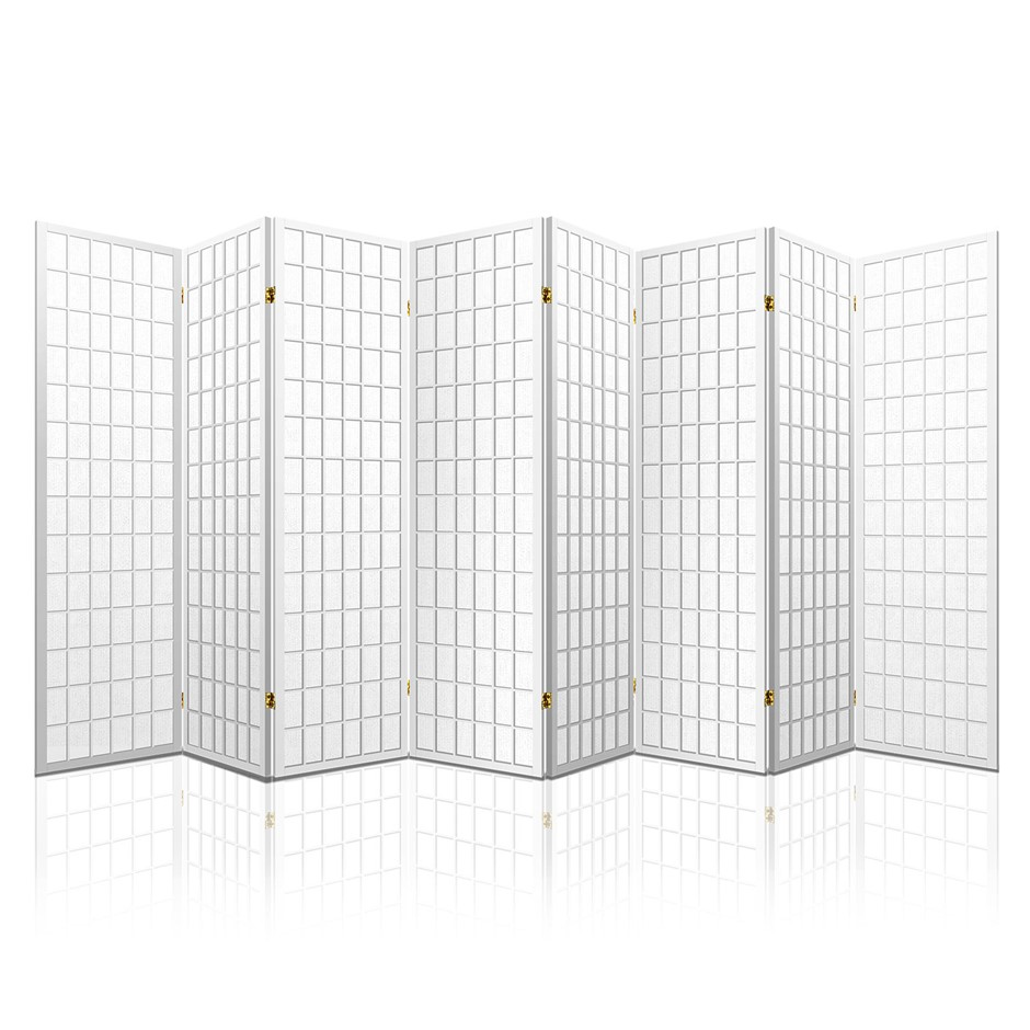 Artiss 8 Panel Room Divider Privacy Screen Stand Oriental Vintage White