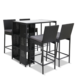 Gardeon Outdoor Bar Set Table Stools Fur