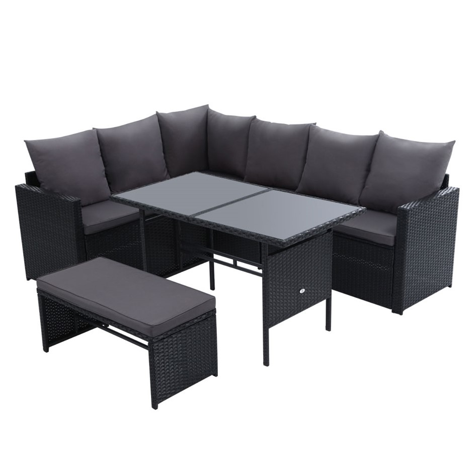 Gardeon Outdoor Furniture Dining Sofa Set Lounge Wicker 8 Seater Black