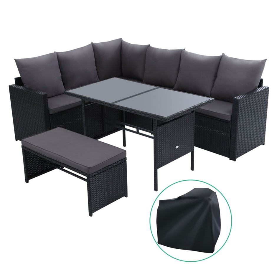 Gardeon Outdoor Furniture Dining Sofa Set Wicker 8 Seater Cover Black