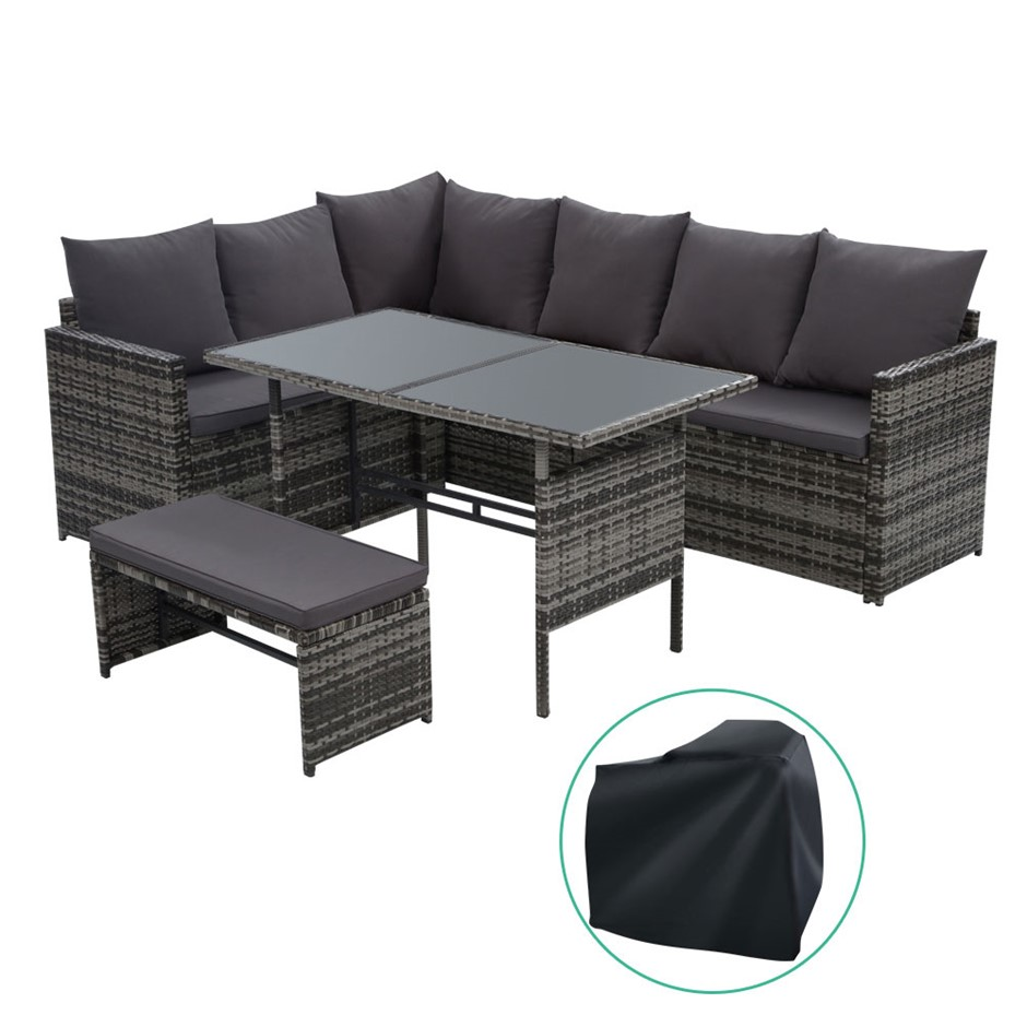 Gardeon Outdoor Furniture Dining Sofa Set Wicker 8 Seater Cover Mixed Grey
