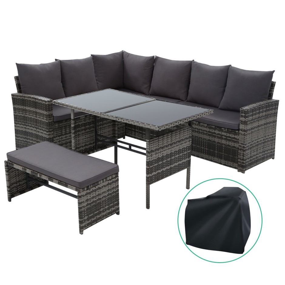 Gardeon Outdoor Furniture Sofa Set Dining Wicker 8 Seater Cover Mixed Grey