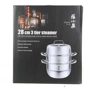 ZHANG 28cm 3-Tier Steamer w/ Tempered Gl