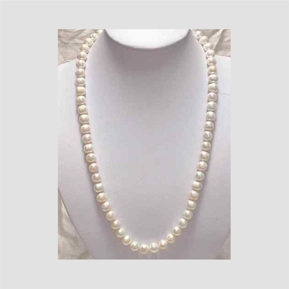 7-8mm White Akoya Cultured Pearl Necklace 25""