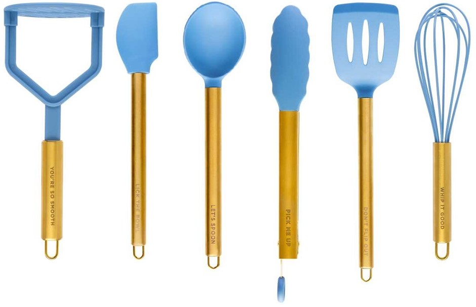 We Are Cheeky 36pc Utensil Set Silicone/Nylon + Stainless Steel Gold Finish