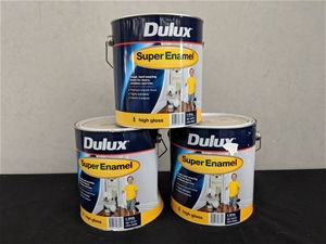 Qty 3 x Dulux 4L Super Enamel High Gloss