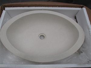 2 x Limestone Basins, 600mm (l) Egg Shap