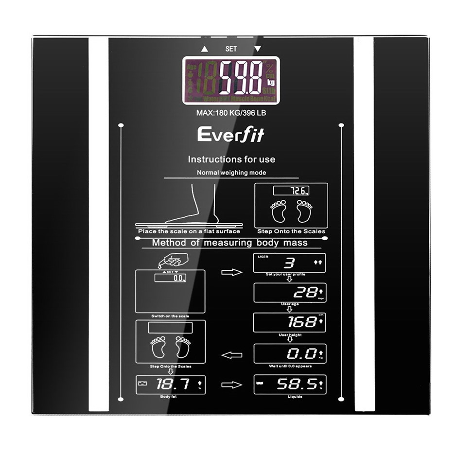 Everfit Digital Body Fat Weight Scale Bathroom Gym Bone BMI Water Glass LCD