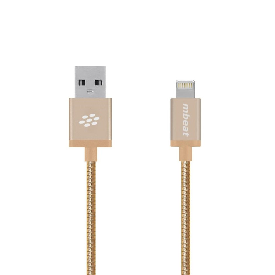 "mbeat MB-ICA-GLD ""Toughlink"" Gold 1.2m Metal Braided MFI Lightning Cable"