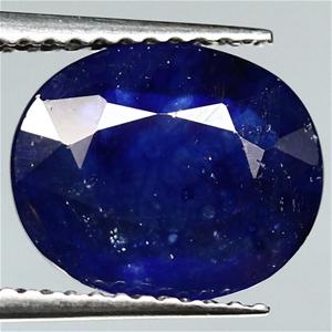 3.85ct. Genuine Oval Facet Blue Sapphire