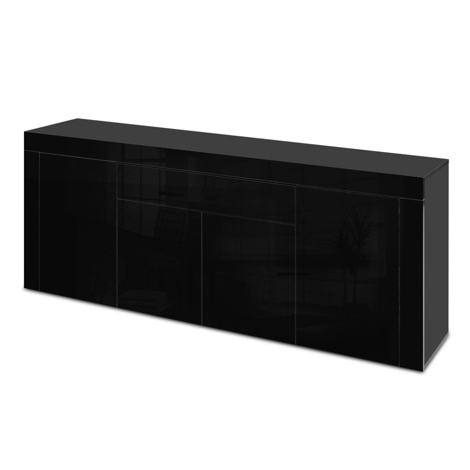 Artiss Sideboard Buffet High Gloss Cabinet 4 Doors Cupboard Hall Black