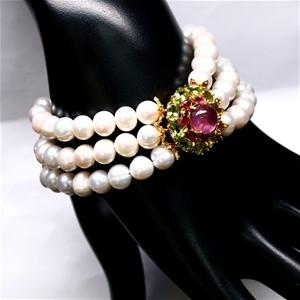 Spectacular Genuine Ruby Peridot & Pearl