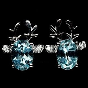 Gorgeous Genuine Blue Topaz Stud Earring